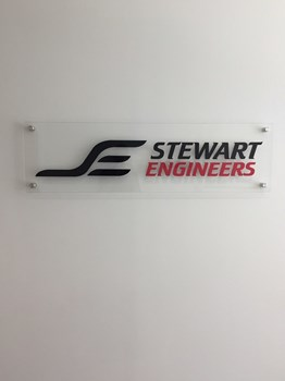 Dimensional Lobby Logo for Stewart Engineers in Wake Forest NC